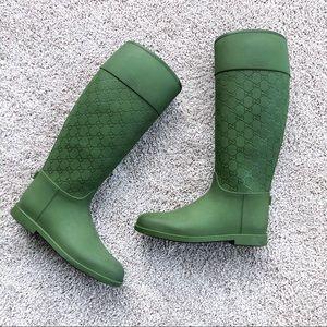 Gucci logo green thermal rain boots